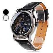 Мужские аналоговые автоматические механические наручные часы с ремешком из кожзама (черные)
