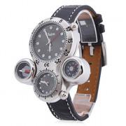 Мужские аналоговые механические часы (2 часовых пояса, черные)