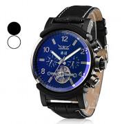 Мужские аналоговые механические наручные часы с календарем и ремешком из кожзама (разные цвета)