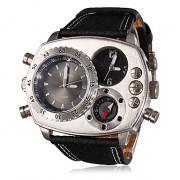 Мужские аналоговые мультиходовые кварцевые наручные часы с ремешком из кожзама (2 временных зоны, черные)