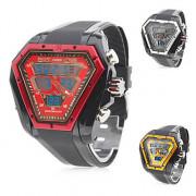 Мужские аналоговые цифровые часы с несколькими циферблатами, черные