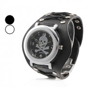 мужские черепа кожаный аналоговые кварцевые наручные часы (черный)