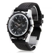 Мужские кварцевые часы с силиконовым ремешком 6553 gz0009002 (черные)