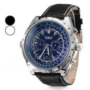 Мужские механические аналоговые водонепроницаемые наручные часы с календарём и ремешком из кожзама (разные цвета)