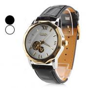 Мужские механические наручные часы с гравировкой на черном ремешке из искусственной кожи