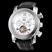 Мужские механические наручные часы в серебристом корпусе на ремешке из искусственной кожи. Цвета в ассортименте