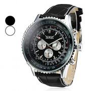 Мужские механические водонепроницаемые наручные часы с календарем на ремешке из искусственной кожи. Цвета в ассортименте