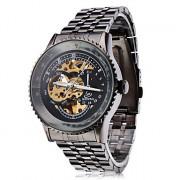 Мужские металлические аналоговые механические часы (черные)