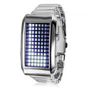 Мужские наручные часы с 72 синим LED дисплеем и стальным браслетом