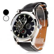 мужские пу аналоговые автоматические механические наручные часы (черный)