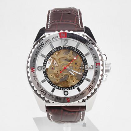 мужские пу аналоговые автоматические механические наручные часы (коричневый)