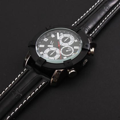 Мужские спортивные кварцевые часы с ремешком из искусственной кожи