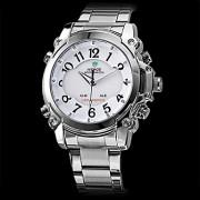 Мужские стали цифро-аналоговый LED-кварцевые наручные часы с многофункциональными (2 часовых поясов, разных цветов)