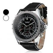 Мужские влагозахитные аналоговые механические наручные часы с ремешком из кожзама (разные цвета)