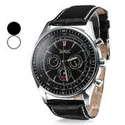 Мужские влагозащитные аналоговые механические наручные часы с календарем и ремешком из кожзама (разные цвета)