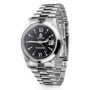 Мужские влагозащитные кварцевые наручные часы из нержавеющей стали с функцией календаря (черные)