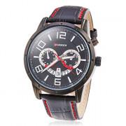 мужской календарь круглый циферблат кожаный ремешок Кварцевые аналоговые наручные часы (разные цвета)