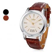Мужской стиль Аналоговый механический PU наручные часы (разных цветов)