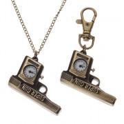 Мужской стиль Gun сплава Кварцевый брелок Ожерелье Watch (бронза)