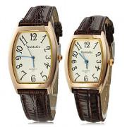 Набор для пары: кварцевые наручные часы на коричневом ремешке из искусственной кожи