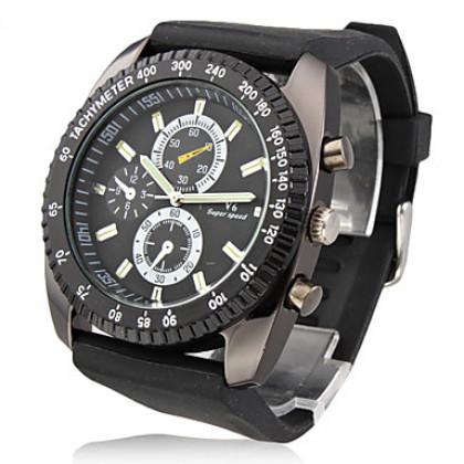 новые стильные мужские черные силиконовые спорта наручные часы SW8