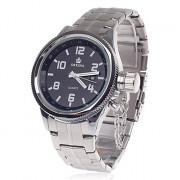 ORKINA W007 Модные мужские кварцевые наручные часы + Простой календарь-серебро + черный