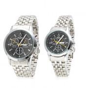 Пара аналоговых кварцевых часов с черным циферблатом 8084 (серебристые)
