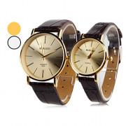 Пара аналоговых кварцевых наручных часов с простым циферблатом и ремешками из кожзама (разные цвета)