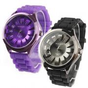 Пара хризантемы образный металлический диск дизайн кварцевые наручные часы - черный и фиолетовый