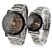 Пара кварцевых аналоговых часов из металлического сплава (серебристые)