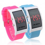Пара силиконовой лентой красный светодиод наручные часы - синий и красный