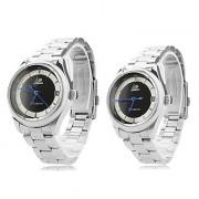 Пара сплава аналогового механические кварцевые часы браслет (серебро)