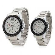 пара стиле из нержавеющей легированной стали аналоговые кварцевые наручные часы (серебро)