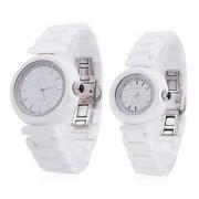 пара стиле керамической аналоговые кварцевые наручные часы (белый)