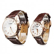 Пара Водонепроницаемый Стиль PU аналоговые кварцевые наручные часы (коричневый)