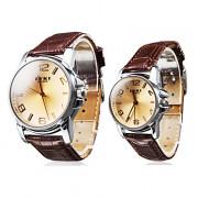 Пара Водонепроницаемый Стиль PU часы аналоговые кварцевые пара (коричневый)
