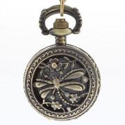 Полые Dragonfly Женские обложки сплава год сбора винограда кварц ожерелье Аналоговые часы