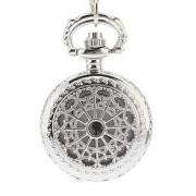 Полые обложка женского серебряного сплава кварц ожерелье Аналоговые часы