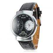 PU женщин Аналоговые кварцевые наручные часы (2 часовых поясов, Черный)