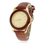 PU женщин Аналоговые кварцевые наручные часы (коричневый)
