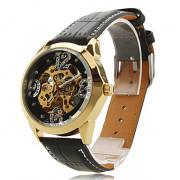 Пу женщин аналоговых механические наручные часы (черный)