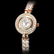 Роллинг Алмазный женские набора стали аналоговые кварцевые часы браслет (золото)