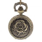 Rose Женские обложки сплава год сбора винограда кварцевые аналоговые карманные часы с цепочкой
