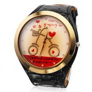 Сердце Женские Стиль Кожа PU Аналоговые кварцевые наручные часы (черный)