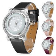 серебряный женский корпус часов стиль полый Кожа PU аналоговые кварцевые наручные часы (разных цветов)