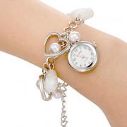 Shell Женские Серебряный кулон сплава группы кварцевые аналоговые часы браслет