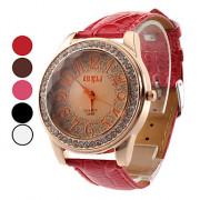 Shinning женский дизайн PU аналоговые кварцевые наручные часы моды (разных цветов)