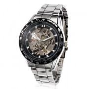 Slide Rule Мужская двухслойные прозрачные метал группы аналоговых Механические наручные часы спорта серебряный и черный