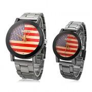 США пары флага стали аналоговые кварцевые наручные часы (черный)