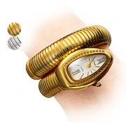 Styish Змея шаблон Женские стали аналоговые кварцевые часы браслет (золото)